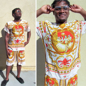 RARE VINTAGE Mens Luxe Silky Baroque 2 Piece Set